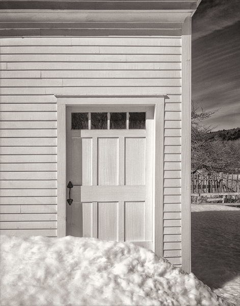Schoolhouse Door and Snow Drift