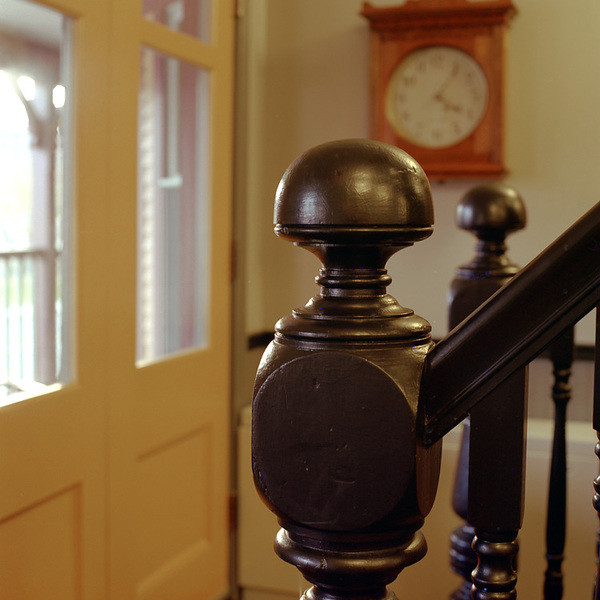 Restored banister posts at Porches Inn
