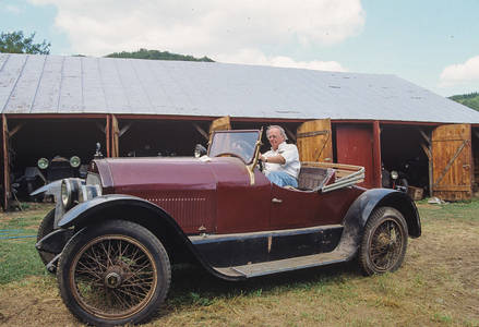 Dave Brownell at the Wheel of a1921 Stutz Bearcat